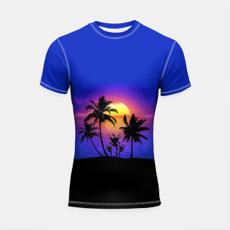 Miniatur Tropical Island Sunset Short Sleeve Rashguard, Live Heroes