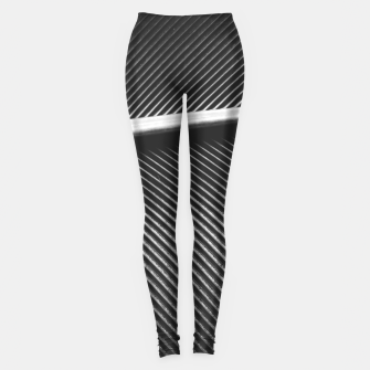 Elegant silver pigeon feather texture lines Leggings thumbnail image