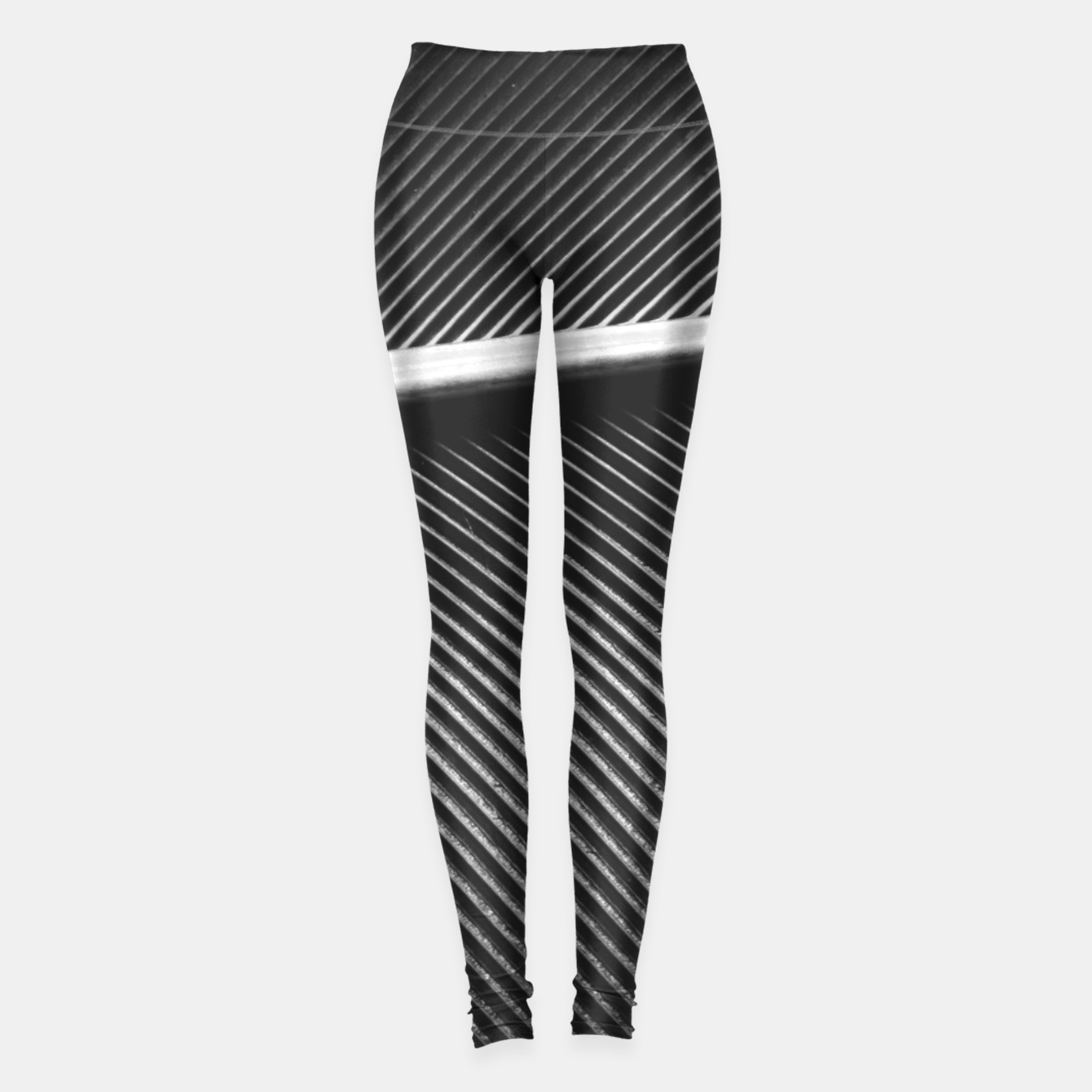 Image of Elegant silver pigeon feather texture lines Leggings - Live Heroes