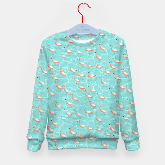 Miniatur Shining flamingo beads in the turquoise water Kid's sweater, Live Heroes