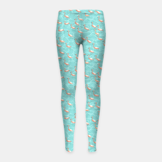 Miniatur Shining flamingo beads in the turquoise water Girl's leggings, Live Heroes