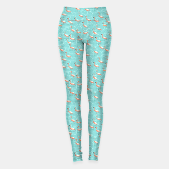 Miniatur Shining flamingo beads in the turquoise water Leggings, Live Heroes