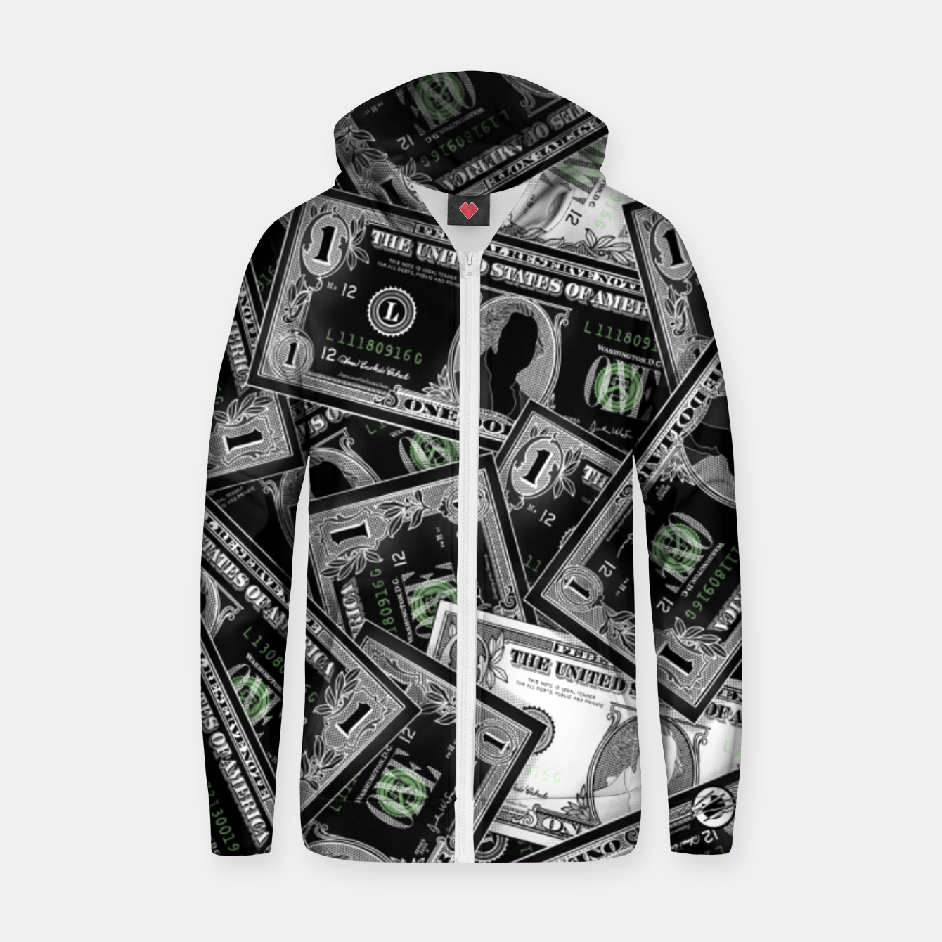Image of Money - Zip up hoodie - Live Heroes