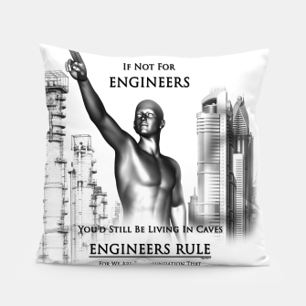 Thumbnail image of Engineers Rule Graphic Design Pillow, Live Heroes