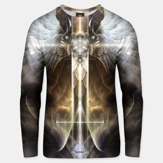 Miniaturka Heavenly Angel Wing Cross Vintage Satin Fractal Art Composition ZM Unisex sweater, Live Heroes