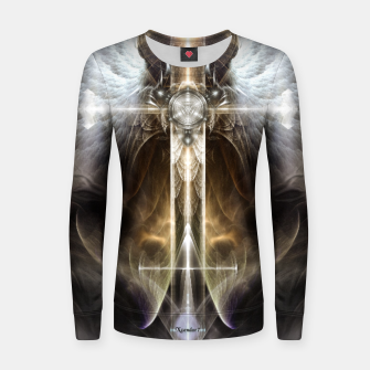 Miniaturka Heavenly Angel Wing Cross Vintage Satin Fractal Art Composition ZM Women sweater, Live Heroes