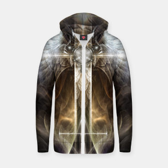 Miniaturka Heavenly Angel Wing Cross Vintage Satin Fractal Art Composition ZM Zip up hoodie, Live Heroes
