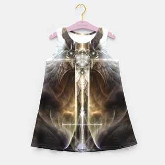 Miniaturka Heavenly Angel Wing Cross Vintage Satin Fractal Art Composition ZM Girl's summer dress, Live Heroes