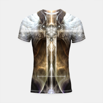 Miniaturka Heavenly Angel Wing Cross Vintage Satin Fractal Art Composition ZM Shortsleeve rashguard, Live Heroes