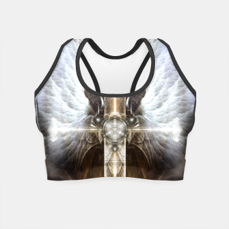 Miniaturka Heavenly Angel Wing Cross Vintage Satin Fractal Art Composition ZM Crop Top, Live Heroes