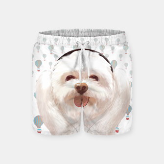 Thumbnail image of Puppy listening to music with headphone Swim Shorts, Live Heroes