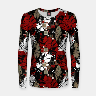 Tropical abstract pattern exotic leaves jungle plants botanical monstera Women sweater Bild der Miniatur