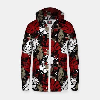 Miniaturka Tropical abstract pattern exotic leaves jungle plants botanical monstera Zip up hoodie, Live Heroes
