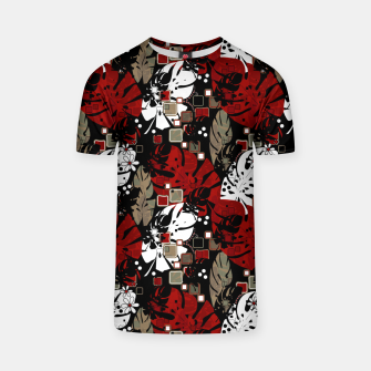 Tropical abstract pattern exotic leaves jungle plants botanical monstera T-shirt Bild der Miniatur
