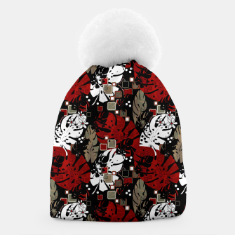 Tropical abstract pattern exotic leaves jungle plants botanical monstera Beanie Bild der Miniatur