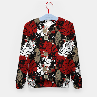 Miniatur Tropical abstract pattern exotic leaves jungle plants botanical monstera Kid's sweater, Live Heroes