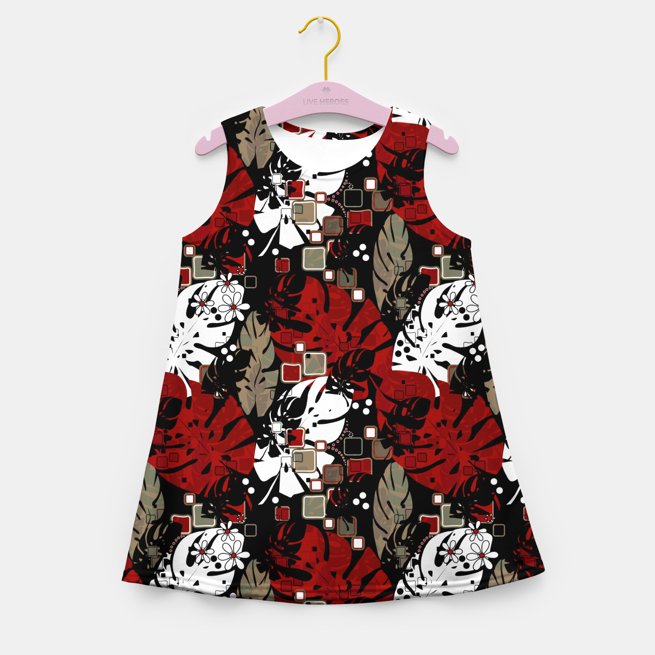 Foto Tropical abstract pattern exotic leaves jungle plants botanical monstera Girl's summer dress - Live Heroes
