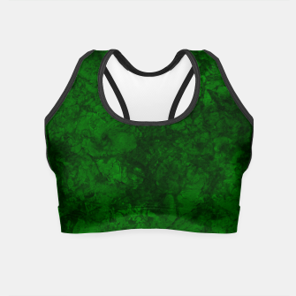 Thumbnail image of Dark bottle green marble textured suede granite smoke wall stone grunge Crop Top, Live Heroes