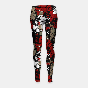Miniatur Tropical abstract pattern exotic leaves jungle plants botanical monstera Girl's leggings, Live Heroes