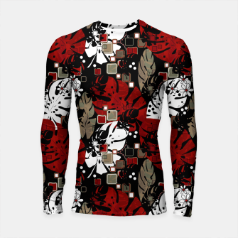 Tropical abstract pattern exotic leaves jungle plants botanical monstera Longsleeve rashguard  Bild der Miniatur