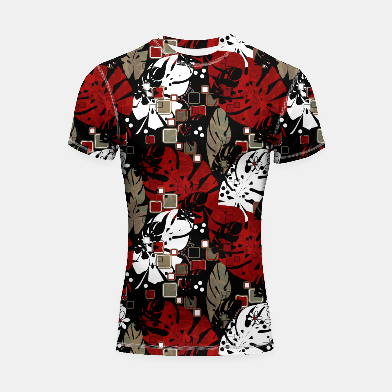 Foto Tropical abstract pattern exotic leaves jungle plants botanical monstera Shortsleeve rashguard - Live Heroes
