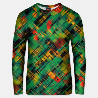 Thumbnail image of Abstract retro modern diagonal scribbles dark bottle green black orange Unisex sweater, Live Heroes