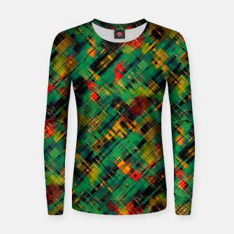 Thumbnail image of Abstract retro modern diagonal scribbles dark bottle green black orange Women sweater, Live Heroes