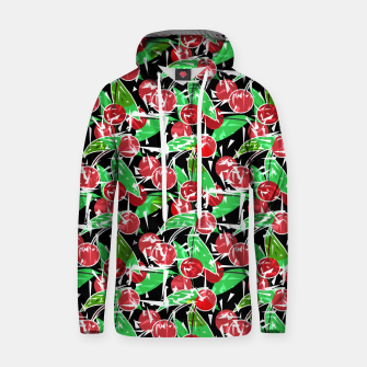 Thumbnail image of Abstraction red cherry berry broken green leaves black background Hoodie, Live Heroes
