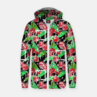 Thumbnail image of Abstraction red cherry berry broken green leaves black background Zip up hoodie, Live Heroes