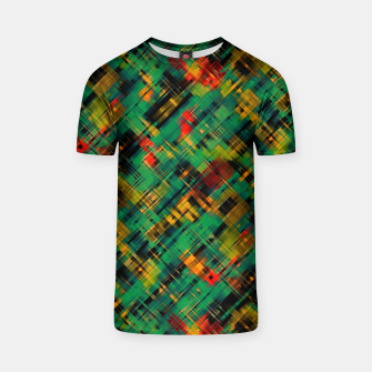 Thumbnail image of Abstract retro modern diagonal scribbles dark bottle green black orange T-shirt, Live Heroes