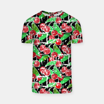 Thumbnail image of Abstraction red cherry berry broken green leaves black background T-shirt, Live Heroes