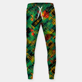 Thumbnail image of Abstract retro modern diagonal scribbles dark bottle green black orange Sweatpants, Live Heroes
