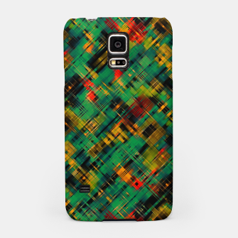 Thumbnail image of Abstract retro modern diagonal scribbles dark bottle green black orange Samsung Case, Live Heroes