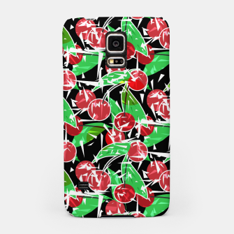 Thumbnail image of Abstraction red cherry berry broken green leaves black background Samsung Case, Live Heroes