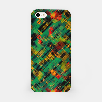 Thumbnail image of Abstract retro modern diagonal scribbles dark bottle green black orange iPhone Case, Live Heroes