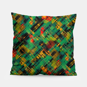 Thumbnail image of Abstract retro modern diagonal scribbles dark bottle green black orange Pillow, Live Heroes