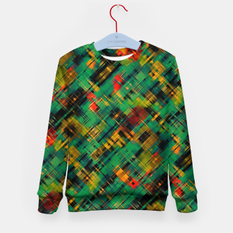 Thumbnail image of Abstract retro modern diagonal scribbles dark bottle green black orange Kid's sweater, Live Heroes