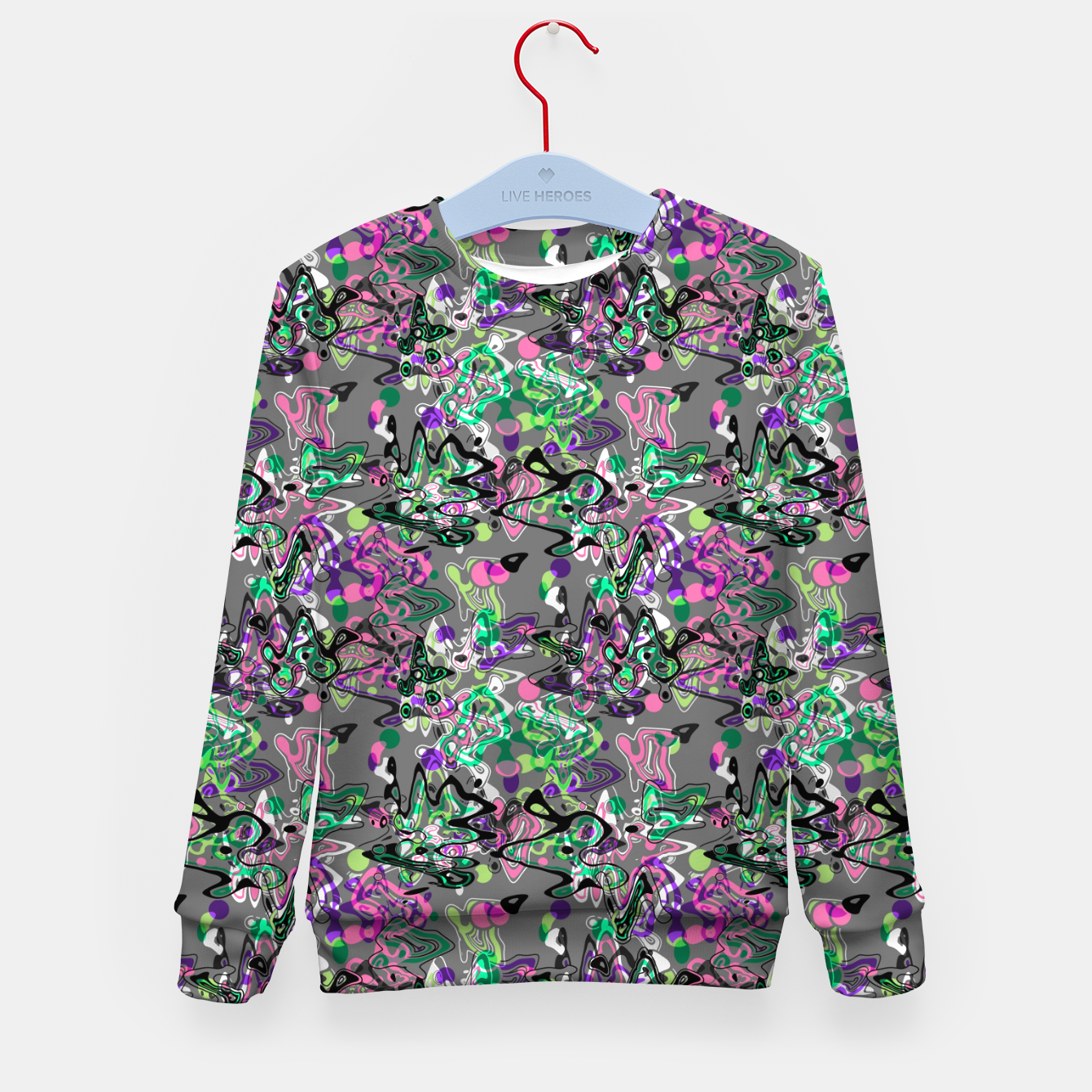 Image of Abstract modern art digital Kid's sweater - Live Heroes