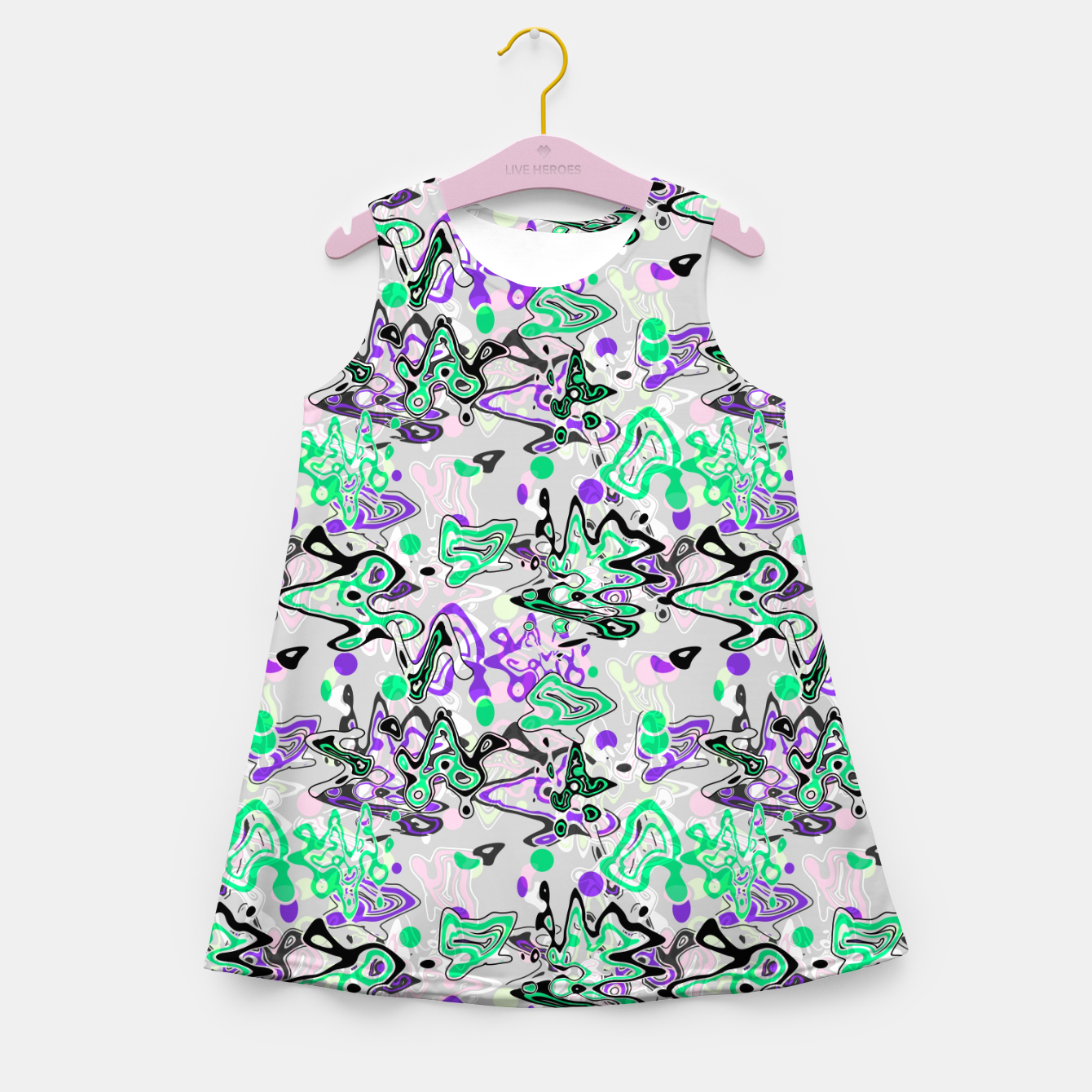 Image of Abstract modern art digital Girl's summer dress - Live Heroes