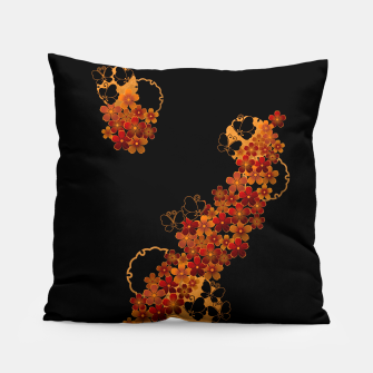 Miniatur Flower and Butterfly. Japanese traditional family crest art. Pillow, Live Heroes