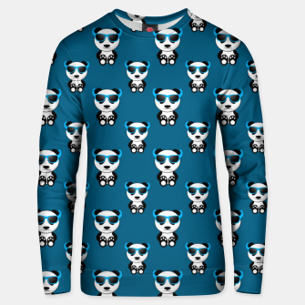 Cool cute panda bear sunglasses blue pattern Unisex sweater thumbnail image