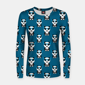 Cool cute panda bear sunglasses blue pattern Women sweater thumbnail image
