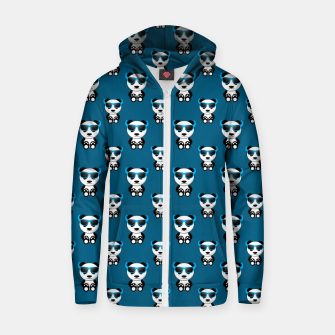 Cool cute panda bear sunglasses blue pattern Zip up hoodie thumbnail image