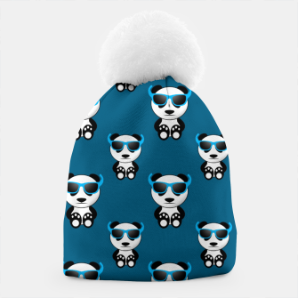 Cool cute panda bear sunglasses blue pattern Beanie thumbnail image