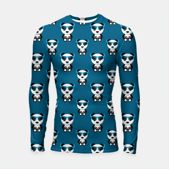 Cool cute panda bear sunglasses blue pattern Longsleeve rashguard  thumbnail image
