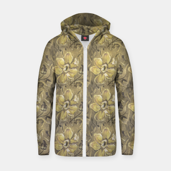 Thumbnail image of Retro Stlye Floral Decorative Print Pattern Zip up hoodie, Live Heroes