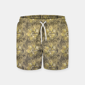 Thumbnail image of Retro Stlye Floral Decorative Print Pattern Swim Shorts, Live Heroes