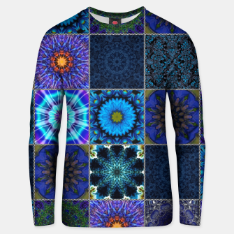 Thumbnail image of Blue Crazy Quilt Pattern Unisex sweater, Live Heroes