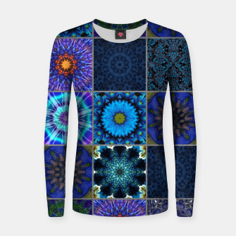 Thumbnail image of Blue Crazy Quilt Pattern Women sweater, Live Heroes