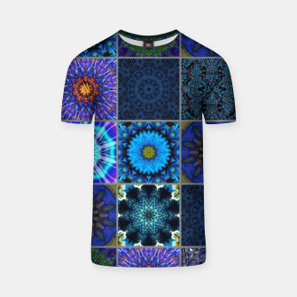 Thumbnail image of Blue Crazy Quilt Pattern T-shirt, Live Heroes
